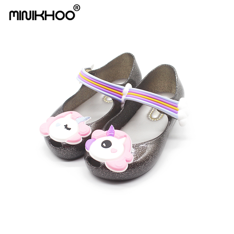 Mini Melissa Girl Cute Unicorn Sandals 2018 New Summer Sandals Melissa Shoes New Jelly Shoes Girl Non-slip Kids Sandal Toddler