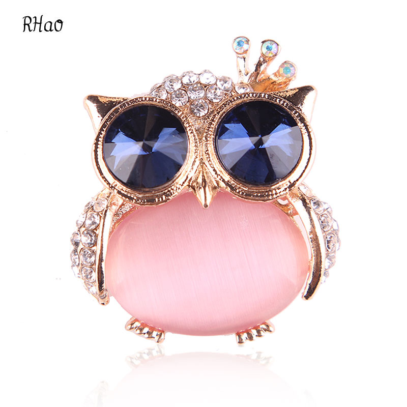 Cute Women Opal Crystal Owl Brooches for wedding and party jewelry brooches broches mujer Lovely Animal brooch pins hijab pins