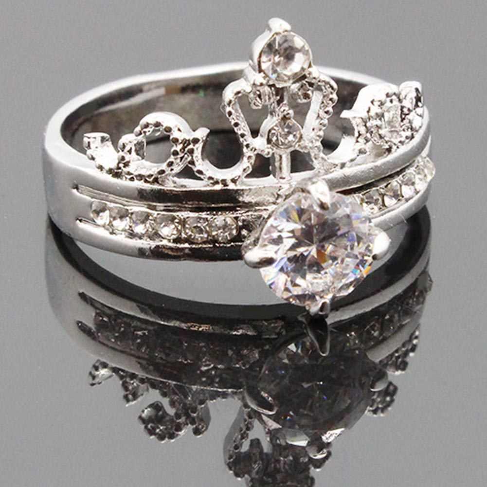 Модный Роскошный Золотой Цвет Кристалл кубический циркон Корона Женское Обручальное украшение женское свадебное кольцо цветок кольцо может Прямая поставка