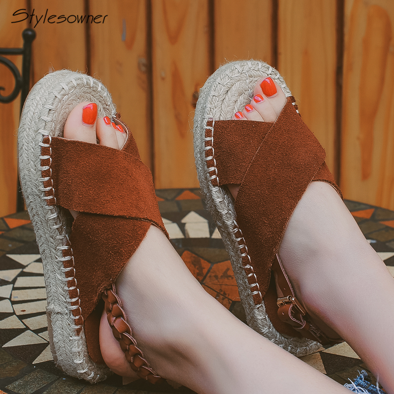 247cf072da1fc Detail Feedback Questions about Stylesowner Women Summer Fisherman  Espadrilles Flat Sandals Genuine Suede Leather Buckle Shoes Platform Casual  Espadrilles ...