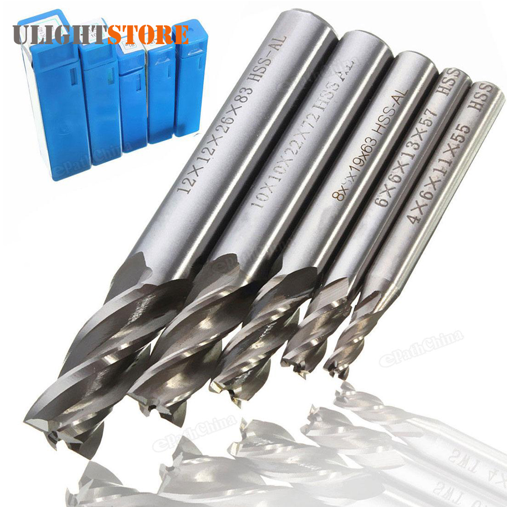 цена 5pcs! Mill Cutter Drill Bit Set HSS Straight Shank 4 Flute End Drill Bits Tool 4 6 /8 10 12mm for CNC Milling Machine