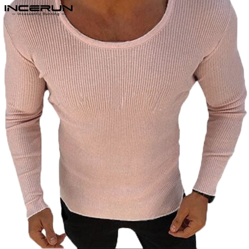 INCERUN Fashion Men Sweaters Long Sleeve Autumn Winter Male Tops Clothes Muscle Tee Slim Fitness Joggers Bodybuilding Hombre Tee