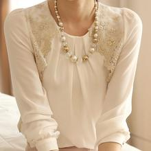 Blouse Promotion Time limited Full O neck Solid Cotton Blusas 2014 Spring Women s Chiffon Shirt
