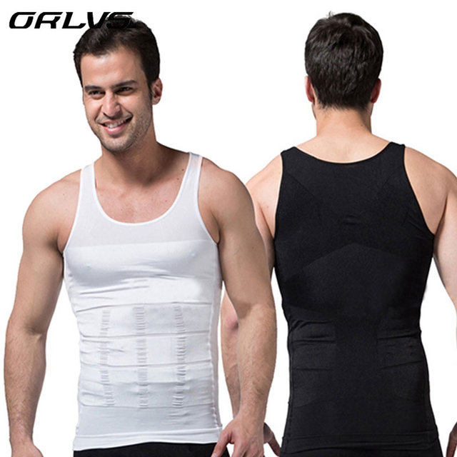 ORLVS Men Corset Body Slimming Tummy Shaper Vest Belly Waist Girdle Shirt Black Shapewear Underwear Waist Girdle Shirts Hot S03