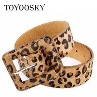 Luxury Women Belts Leopard Horsehair Genuine Leather Pin Buckle Wide Belt for Dress All match Belts for Female Cinturon Mujer