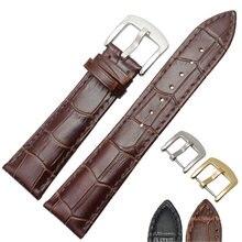 ccd24fb9cd5c Correas de hombres negro marrón suave de cuero genuino reloj Correa banda  de oro de plata hebilla de Metal accesorios 19mm 20mm .