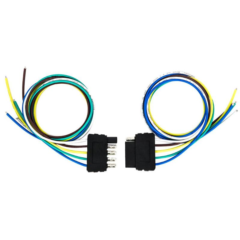 Vehicle+Trailer Wiring Harness Kit 5 Way Flat Connector 18 AWG Wire