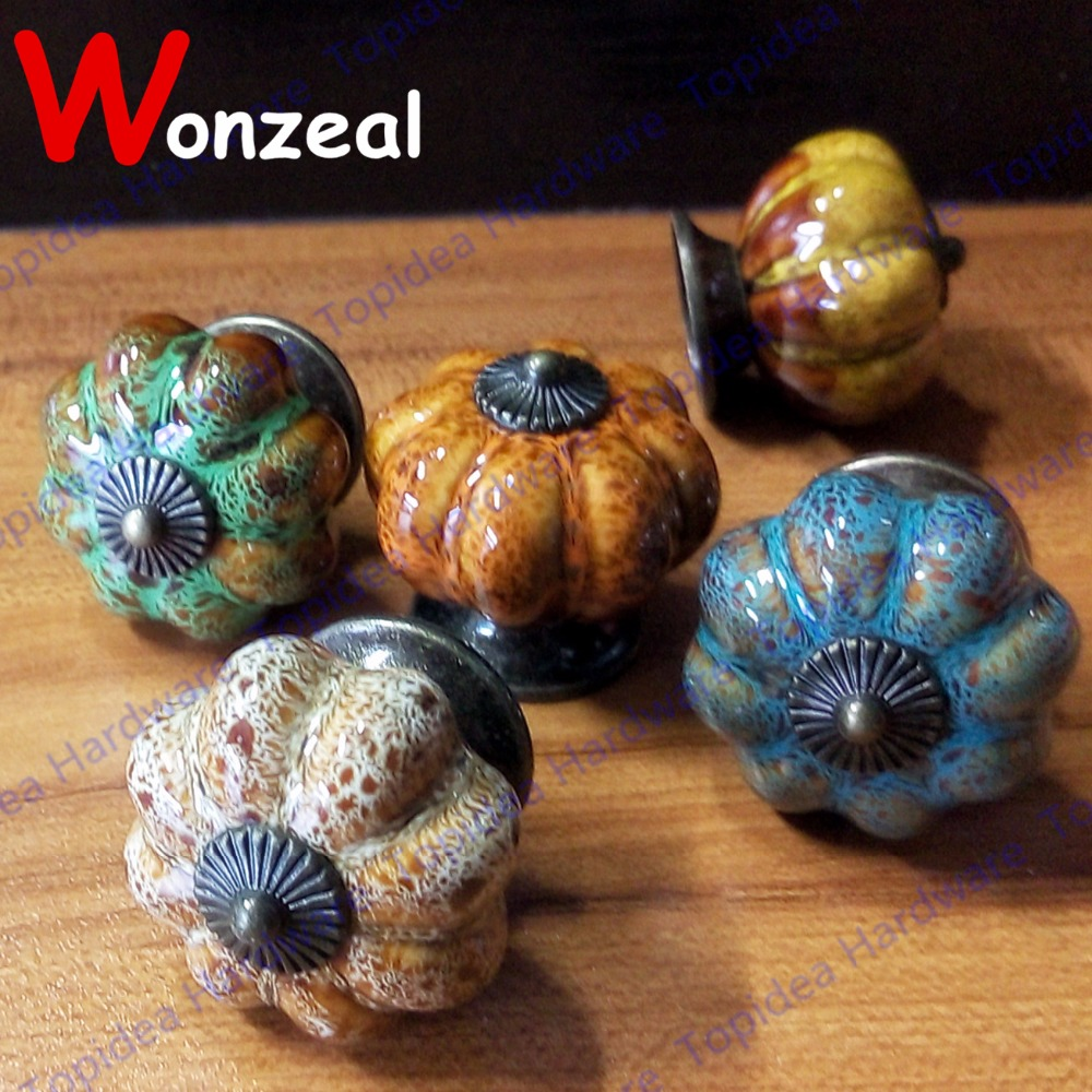 1pc 40*37mm Pumpkin ceramic knob Vintage Colorful dresser door knob Zinc alloy Kitchen Furniture handle cabinet drawer pull 10pcs kitchen furniture pull pumpkin shape pastoralism ceramic knob various color single hole knobdrawer knob dia 40mm