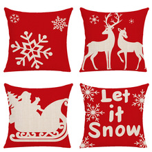Merry Christmas Pillow Case Square Comfortable Red Cotton Linen Cover Living Room Plaid Tree Deer Snowflake Cushion