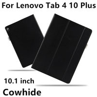 Case Cowhide For Lenovo Tab 4 10 Plus Genuine Leather Tab410plus Protective Protector Smart Cover TB