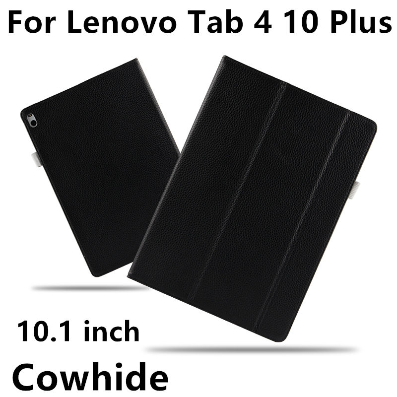 Case Cowhide For Lenovo Tab 4 10 Plus Genuine Leather Tab410plus Protective Protector Smart Cover TB-X704F TB-X704L Tablet 10.1 ...