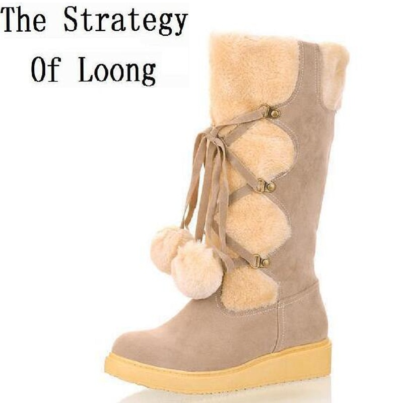Women 2015 New Winter Wedges Chunky Heel Nubuck Leather Lace Up Round Toe Fashion Warm Mid Calf Snow Boots Size 34-39 SXQ0818 women warm winter shoes wedges round toe platform lace up mid calf boots fashion square heel botas mujer