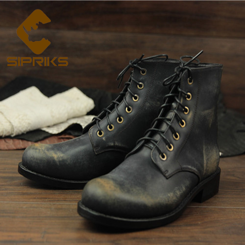 Sipriks Imported Italian Retro Genuine Leather Motorcycle Boots Mens Classic Goodyear Welted Shoes Cowboy Shoes Boots Big Size
