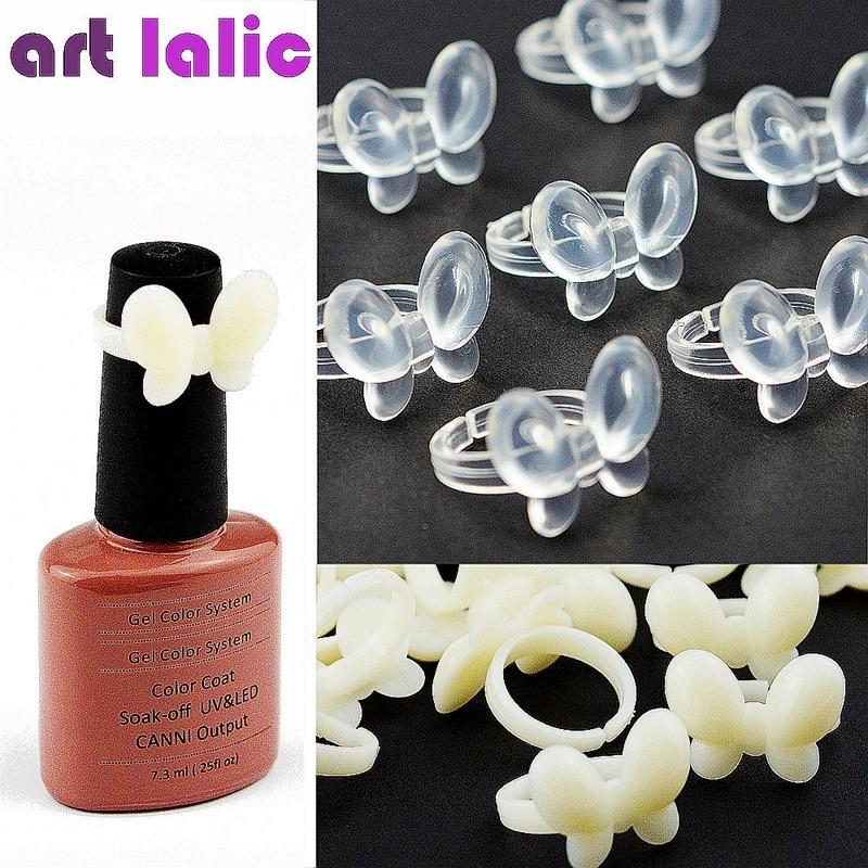Artlalic 50 Pcs New Butterfly Fake Nail Polish Display Clear/ Natural Color Chart Practice False Nail Art Tools