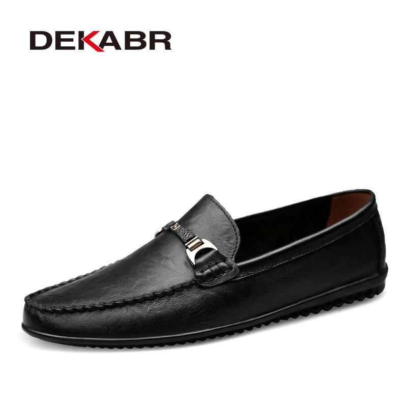 DEKABR Brand Fashion Soft Split Leather Breathable Men's Shoes Slip-on Mocassins Men Loafers Anti-skid Driving Casual Shoes Men стоимость