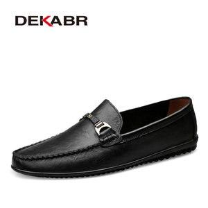 Image 1 - DEKABR Brand Fashion Soft Split Leather Breathable Mens Shoes Slip on Mocassins Men Loafers Anti skid Driving Casual Shoes Men