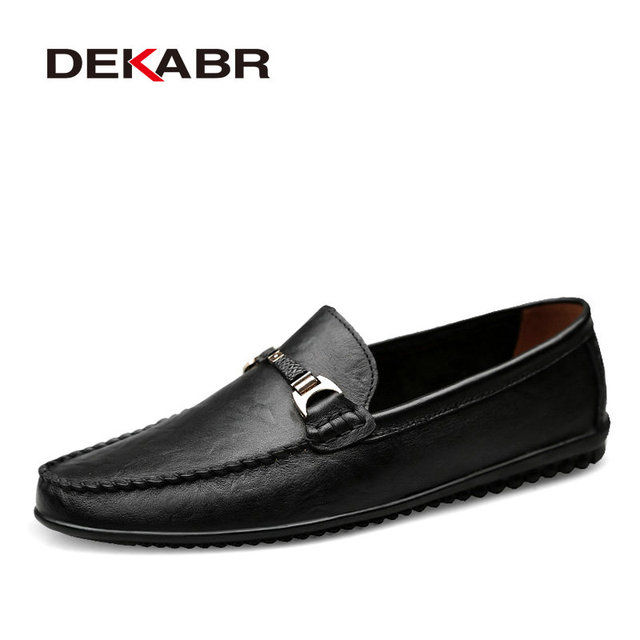 DEKABR Brand Fashion Soft Split Leather Breathable Mens Shoes Slip on Mocassins Men Loafers Anti skid Driving Casual Shoes Men