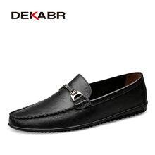 DEKABR marka moda miękka skóra Split oddychające męskie buty Slip on mokasyny męskie mokasyny antypoślizgowe buty do jazdy samochodem na co dzień mężczyźni