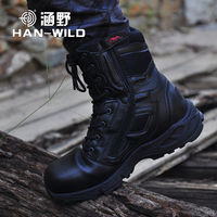 Mens Military Army Boot Genuine Leather Vintage Lace Up Waterproof Safety Shoes Black Desert Combat Tactical