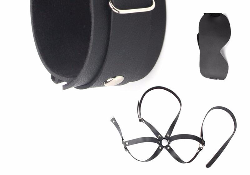 Sexy Lingerie Adjustable PU Leather Sex Handcuffs Ankle Cuff Restraints bdsm Bondage Sex Toys SM Latex Sex Clothing Bondage set