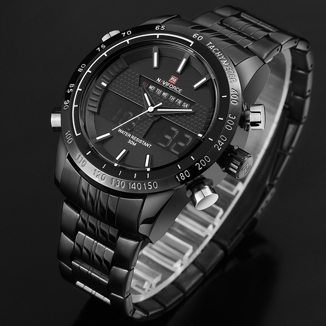 Men Fashion Sport Watches Men's Quartz Digital Analog Clock Man Full Steel Wrist Watch 3