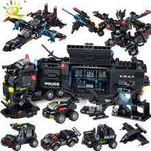 HUIQIBAO Toys 820PCS 8in1 SWAT Police Command Truck Building Blocks For Children Legoingly Warship Mecha Truck Soldiers Bricks(China)