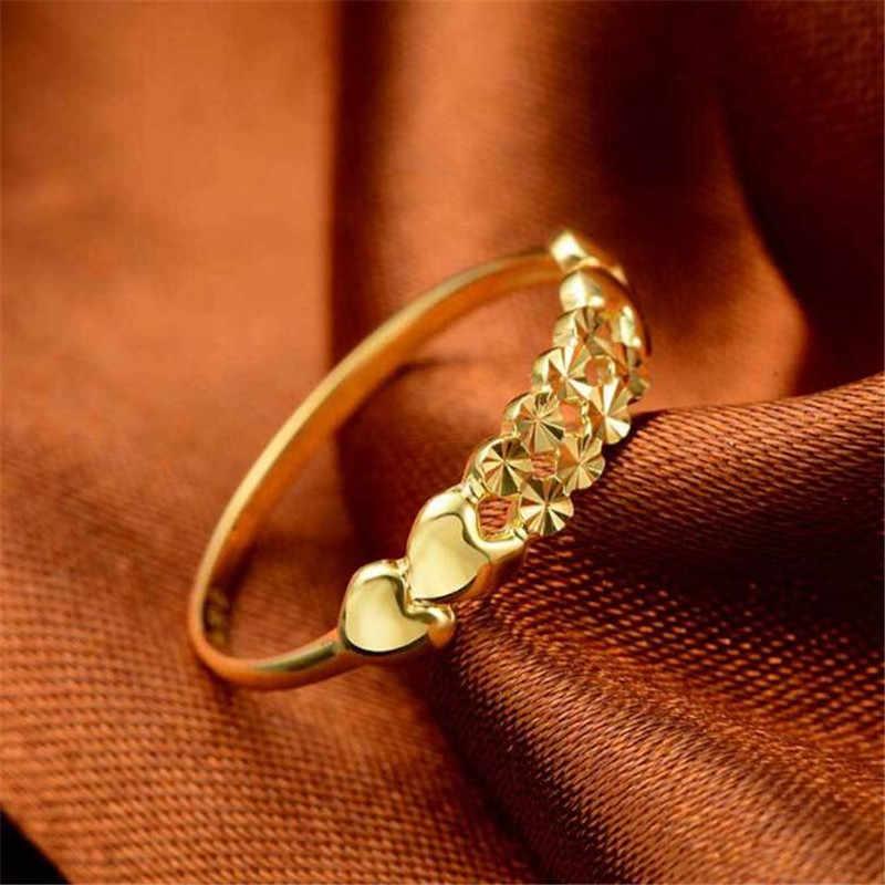 100% 18 K чистые золотые кольца для женщин полое сердце модные свадебные кольца для резки ювелирных изделий оптом