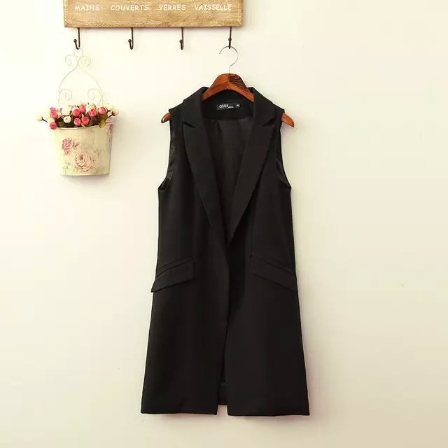 2015 spring summer long Black Blazer Lapel Slim waistcoat with Flag Pockets Female Fashion Vest Medium Length Jacket