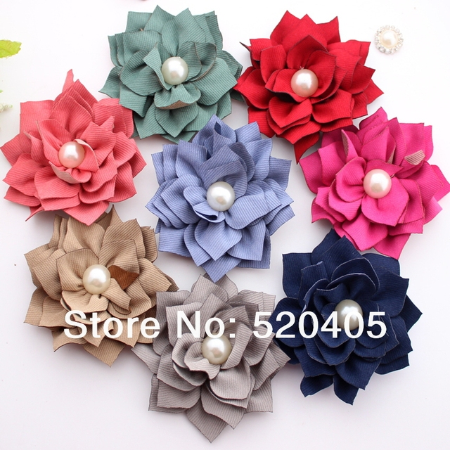 Fashion new Korea Flowers for hair band Kanzashi Fabric Flowers with pearl hair  DIY flowers headbands 3.1 Inch wholesale 50 PCS 2459d46eece7
