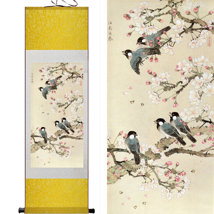 Traditional Chinese Art Painting Home Office Decoration Chinese Painting  Birds Flying On The TreePrinted Painting
