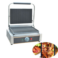 Jamielin Commercial Electric Sandwich Press Panini Grill/ Sandwich Machine/Panini Single Contact Grill Toaster 110V 220V