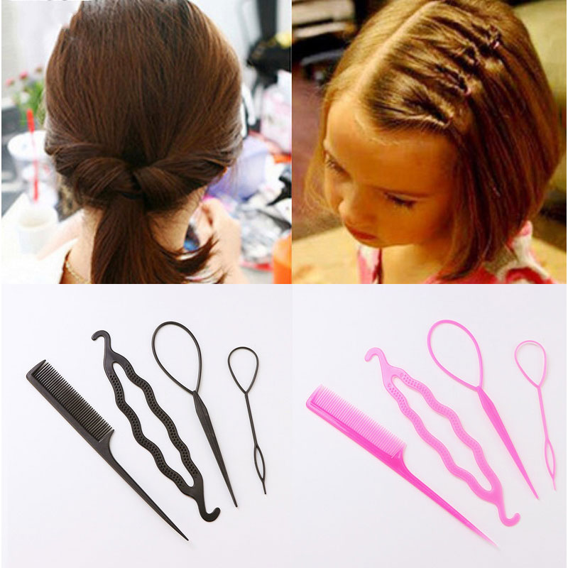 1Set=4pcs Women Girls Quick Hair Making Tools Set 6 Colors Diy Hair Ponytail Headbands Hairbands Hair Accessories