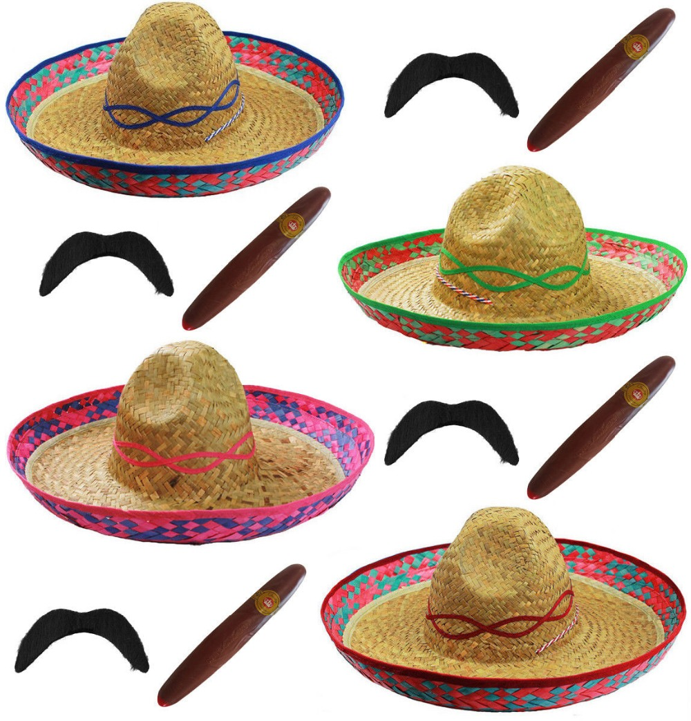 3 PIECES ADULT MEXICAN SOMBRERO STRAW HAT SET MOUSTACHE CIGAR BANDIT FANCY DRESS HALLOWEEN COSTUME COCO DAY OF THE DEAD ONE SIZE