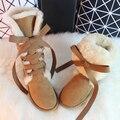 BLIVTIAE/Luxo Joelho Botas altas de pele de Carneiro do Inverno Austrália Botas de Neve Botas de Pele De Ovelha Lã Natural Arco Plana Longo Nubuck botas