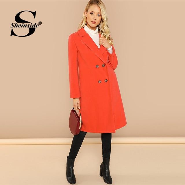 270dc03b82 Sheinside Orange Notch Collar Double Breasted Placket Coat Women Woolen  Long Coats 2018 Autumn Elegant Overcoat Female Outerwear