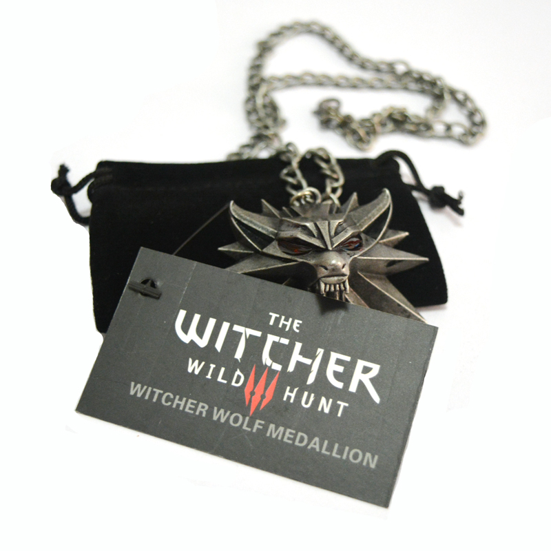 39066fac82 1 Bag and 1 Card The Witcher 3 Wild Hunt Medallion Pendant and Chain  Necklace