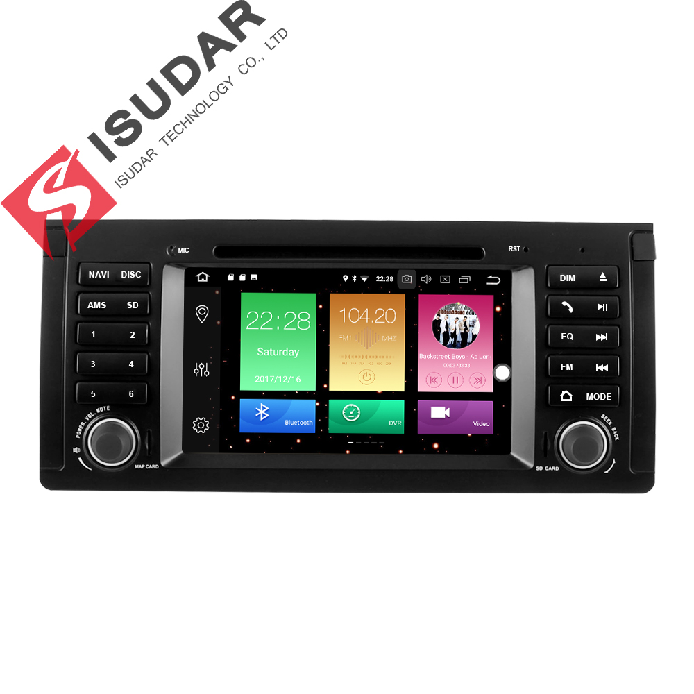 Isudar Car Multimedia Player Car Radio 1 Din GPS Android 8.0 For BMW/E39/5 Series Canbus DSP USB DVR OBD2 DAB Microphone Wifi
