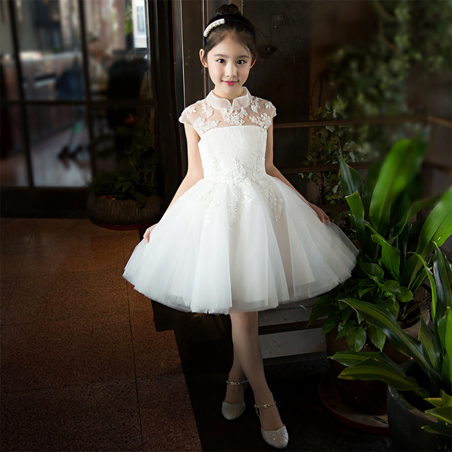 59f9b7a07c0 Lovely Girls Lace Dress Kids Princess Party Wedding Gowns for Children Graduation  Ceremony Baby Kids Formal Wear White Gown S90