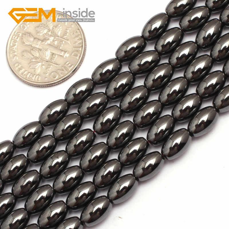 "Olivary ข้าวสีดำธรรมชาติ Magnetic Hematite ลูกปัดแบบหลวมสำหรับเครื่องประดับ DIY Strand 15 ""อัญมณี - ภายใน"