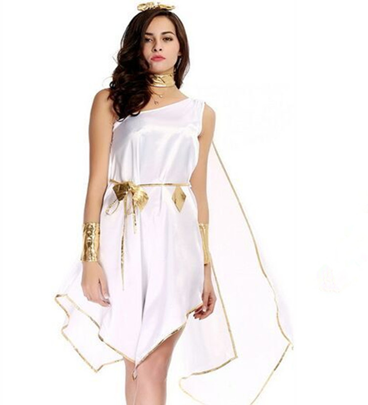 Sexy adult women greek goddess costumes Irregular white long fancy Halloween Party Ancient Greek Goddess Costumes L006