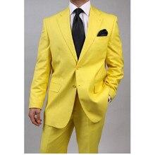 New Lastest designs Customize made Groomsmen Groom Tuxedos yellow Men Suits Wedding Best Man Blazer(Jacket+Pant) ZX521