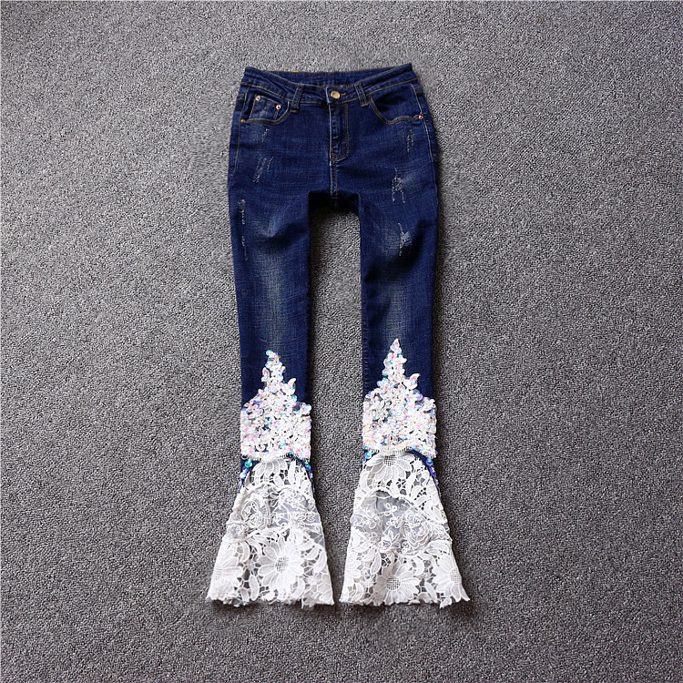 2017 autumn mid waist vintage distrressed big horn butt-lifting flare jeans trousers pants