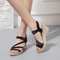 Women Female Wedge High Heels Open Toe Pumps Shoes Woman 1