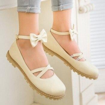 Chaussures Avec Des Arcs | Japonaise Douce Soeur Lolita Lolita Fond Plat Sangle Arc COS Tête Ronde étudiant Princesse Chaussures Pour Femmes Grand Garçon