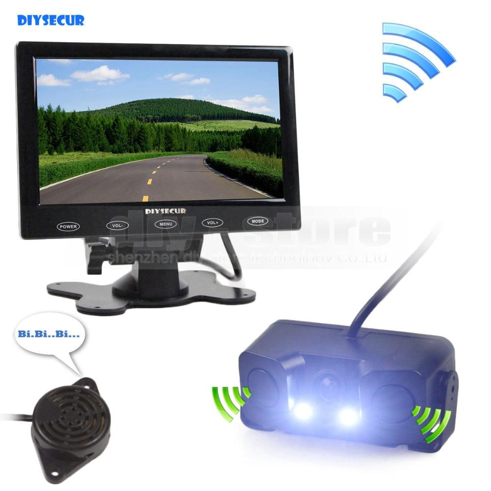 DIYSECUR 7 pouce Tactile Bouton Ultra-mince Moniteur De Voiture + LED Vue Arrière De Voiture Caméra Sans Fil Parking Capteur Radar Système d'assistance