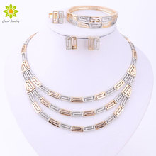 New Designer Dubai Fashion  Gold Color Multilayers Necklace Earrings African Wedding Bridal Costume Jewelry Sets
