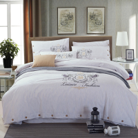 Washed cotton soft fabric embroidered beddding set white grey 4pcs king queen size hotel bedsheet set duvet cover pillow 36