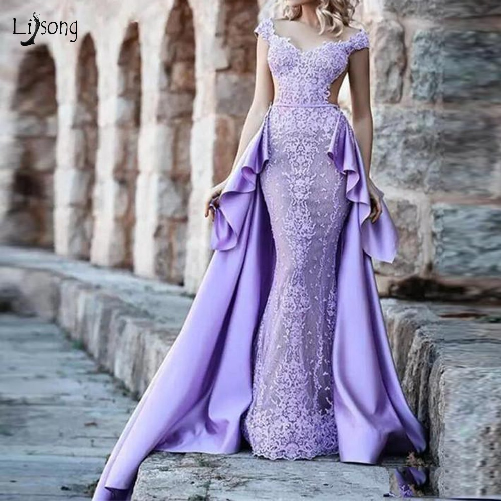 Prom Dress With Detachable Train: Vintage Lavender Lace Mermaid Evening Dresses With