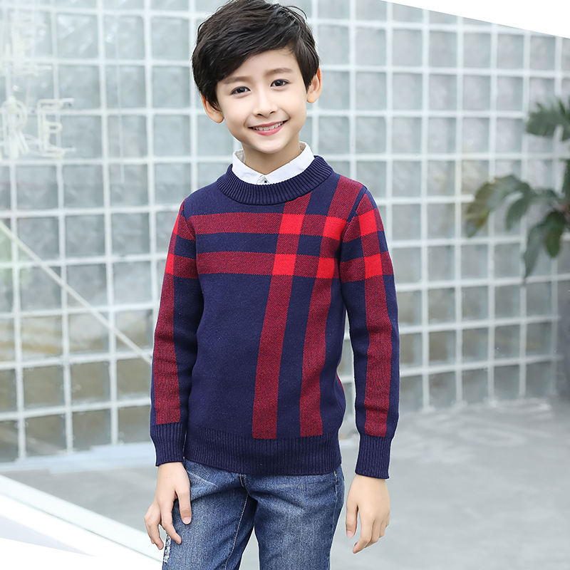 Winter Cotton products clothing Boy's Sweater O-Neck pullover Sweater  Kids clothes children's Sweater winter Keep warm 4