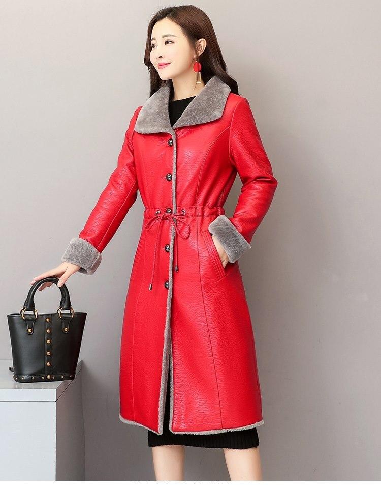 Veste Vêtements Noir Outwear Leahter Fourrure Femme Chaud Manteau Tranchée Luxe Asiatique Mince Mode De Green Cuir Longue rouge En Conception D'hiver Femelle army wZqZUHf6